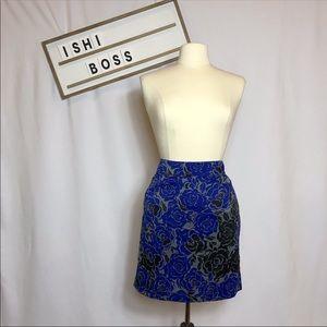 banana republic skirt black grey blue roses
